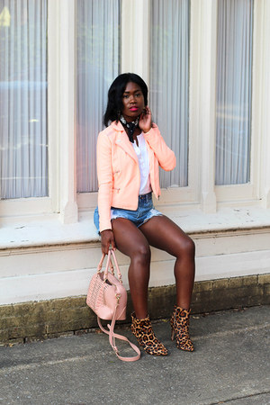 Joie boots - River Island jacket - JustFab bag - Nasty Gal shorts
