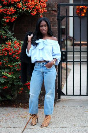 romwe blouse - vintage levis jeans - tory burch sandals