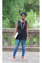 w118 top - madewell jeans - banana republic bag - Zara pumps