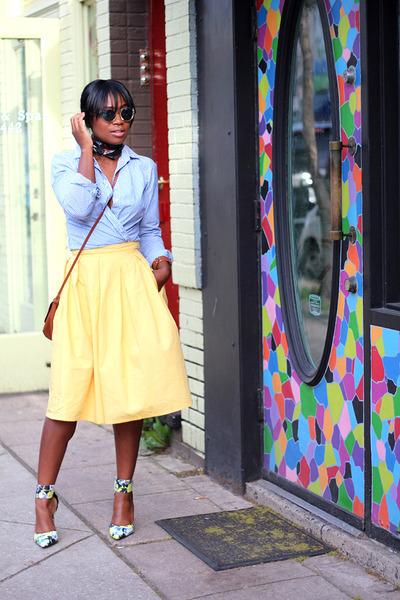 eShakti skirt - JCrew shirt - sam edelman pumps