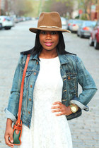 madewell jacket - Love Lace dress - Calvin Klien hat - Vintage Liz Claiborne bag