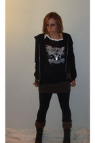 united colors of benetton skirt - Rue 21 jacket - Harley Davidson boots - Metall