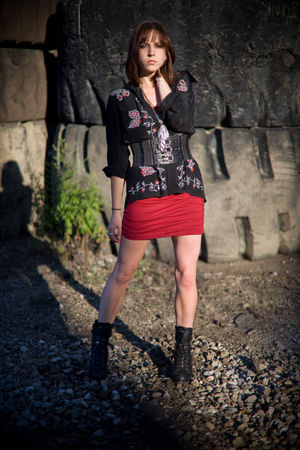 red Express dress - black Forever 21 boots - black Diane Von Furstenberg blouse
