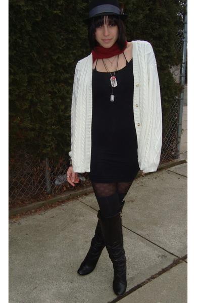 black Nine West boots - black American Apparel socks - black Forever 21 tights -