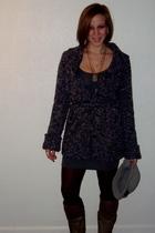 Zara sweater - American Apparel dress - Nine West boots - Rue 21 leggings - sock