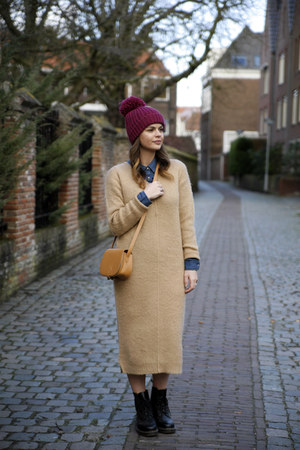 denim Mango blouse - Dr Martens boots - wool asos dress - similar new look hat