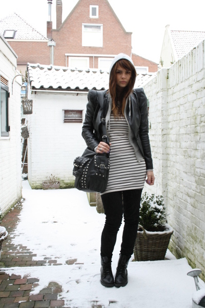 SuperTrash jacket - H&M top - acne pants - H&M shoes - Zara purse