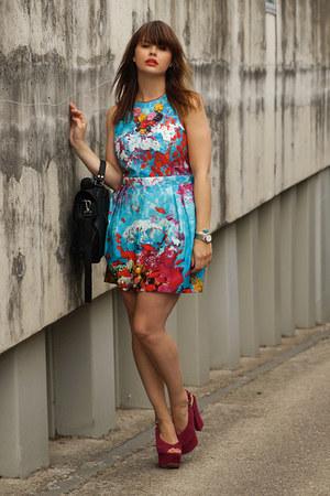 Miss Fluff necklace - Primark dress - VJ-style bag