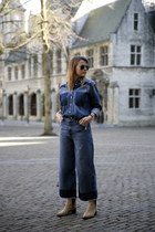 acne boots - jeans - see by chloé shirt - ray-ban sunglasses