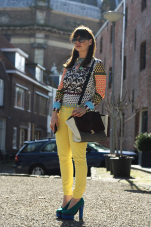 acne shoes - VJ-style bag - romwe sunglasses - Sheinside blouse