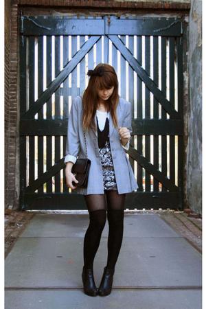 vintage blazer - H&M skirt - H&M socks - Chanel purse