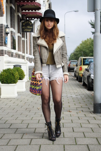 Zara jacket - Topshop shoes - vintage levis shorts