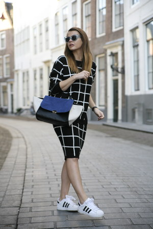 wool check Missguided skirt - Celine bag - Polette sunglasses