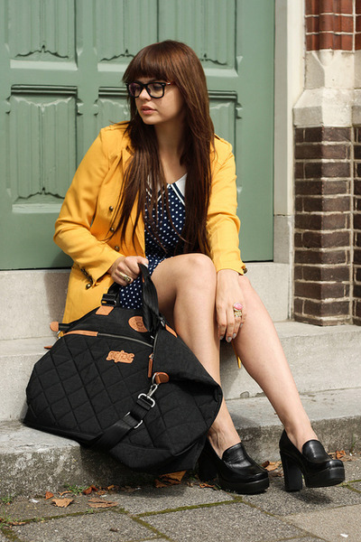 romwe jacket - romwe shoes - Dongkwang dress - JC De Castelbajac for Kipling bag