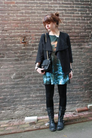 h&m trend top top - H&M jacket - shopcuffs leggings - new look boots