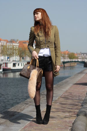 Mango coat - Zara boots - Zara shorts - LV purse