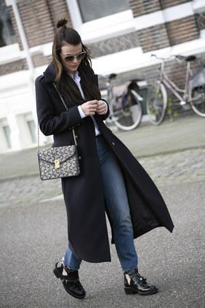 Zara coat - balenciaga boots - Levis jeans - Celine bag - Prada sunglasses