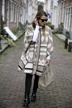 Zara cape - balenciaga boots - Michael Kors bag