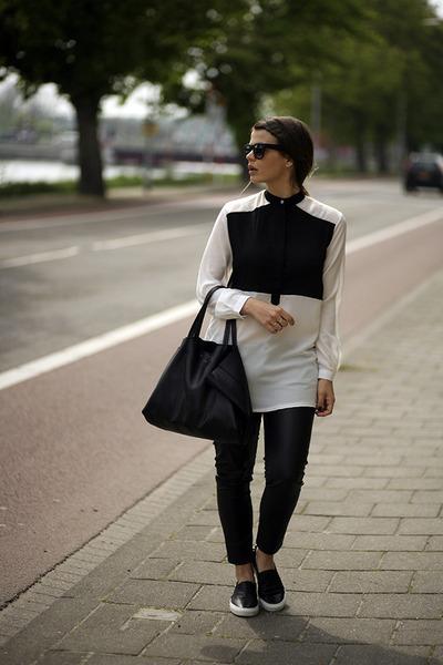 slip-on SANDRO sneakers - Celine bag - blackfive blouse