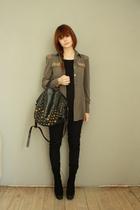 ployy blouse - Zara boots - berschka purse