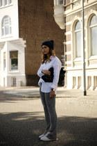 bell bottom Zara pants - Diesel hat - Celine bag - oversized Zara blouse
