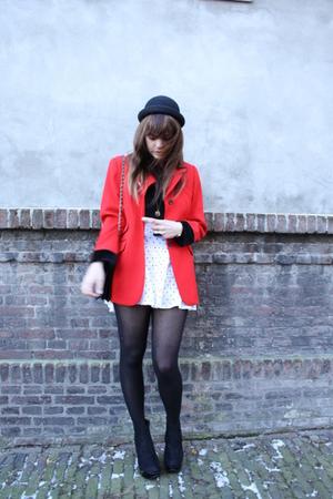 vintage blazer - H&M skirt - Topshop boots - H&M hat