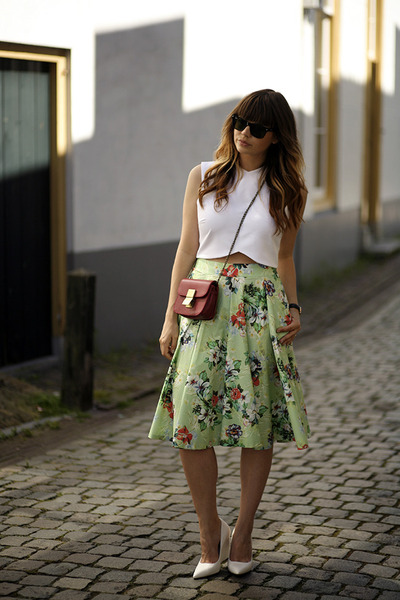 midi Zara skirt - cropped Zara top - wedge Mango pumps