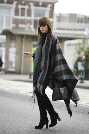 poncho cape - over the knee boots