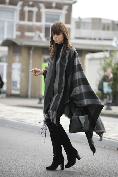 Over the knee boots & poncho