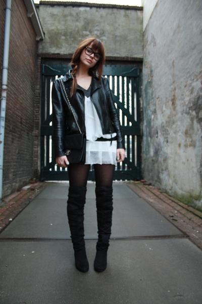 Primark boots - vintage blouse - Primark jacket