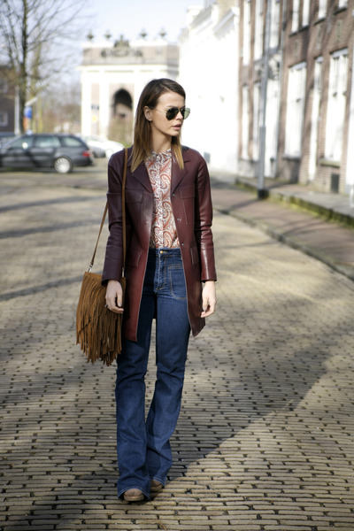 flare Mango jeans - leather Zara coat - paisley Mango shirt