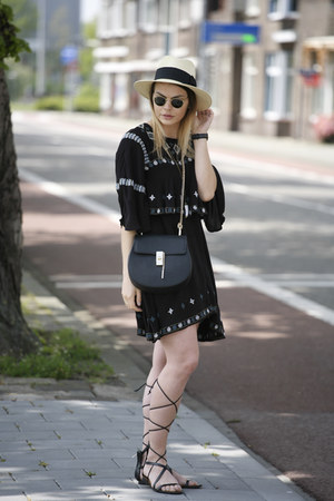 similar Zara dress - similar H&M hat - Chloe bag - Mango sandals