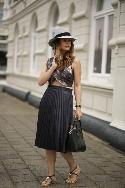 cropped Zara top - Maison Michel hat - milanoo skirt - Have2have sandals