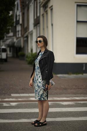 tropical Zara dress - Kill City jacket - Sheinside bag - Daniel Wellington watch