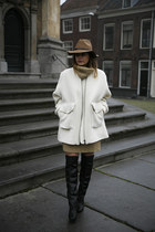 oversized H&M Studio collection coat - over the knee H&M Trend boots