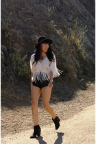 fringe smith blouse - wide brim hat - leather vintage shorts