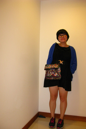 sweater - Topshop dress - vintage accessories - Puma