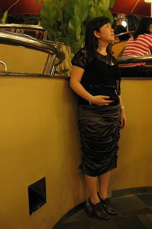 Mango top - Topshop skirt - pedder red shoes