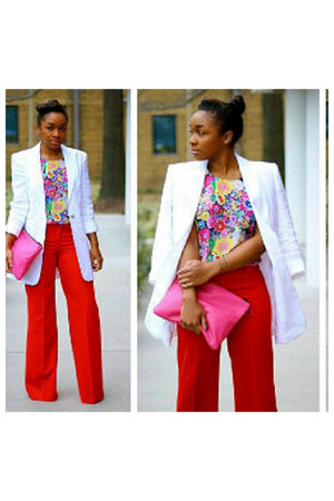 red pants - white blazer - floral blouse