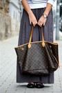 Charcoal-gray-zara-skirt-h-m-sweater-prada-sunglasses-burberry-flats