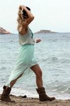 aquamarine Zara skirt - light brown Zara boots - aquamarine Zara top