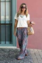 Zara pants - Bimba and Lola bag - Prada sunglasses - H&M t-shirt - H&M necklace