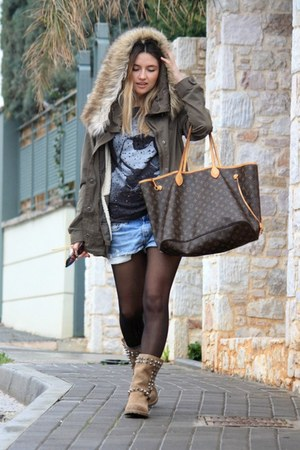 Zara boots - Louis Vuitton bag - Zara hoodie