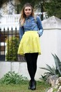 H-m-shirt-yellow-zara-skirt-black-h-m-loafers