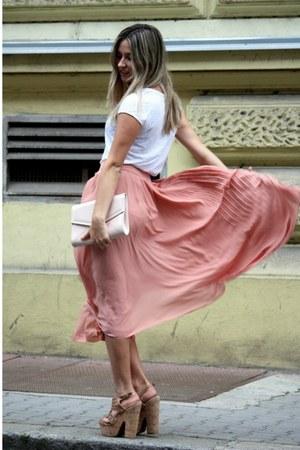 nude H&M bag - peach H&M skirt