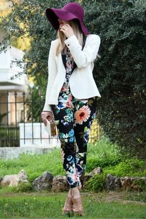 Zara blazer - magenta H&M hat - Zara shirt - H&M pants