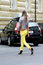 Yellow-dsquared2-pants-black-ralph-lauren-sunglasses-black-zara-heels