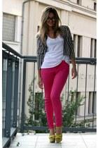 hot pink Zara jeans - H&M blazer - yellow Zara heels