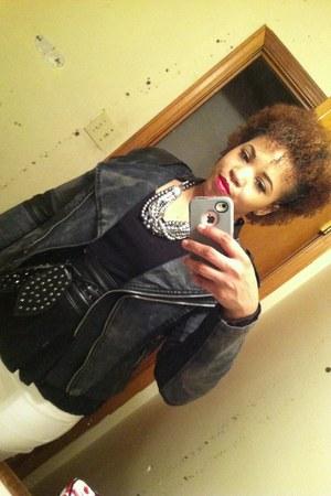 white random brand jeans - black Forever 21 jacket - black Target blouse