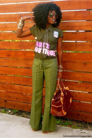 green shirt - green pants - orange